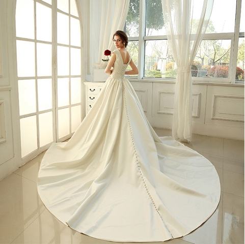 Elegant Beading V-Neck Chapel Train Wedding Dress (11341951)