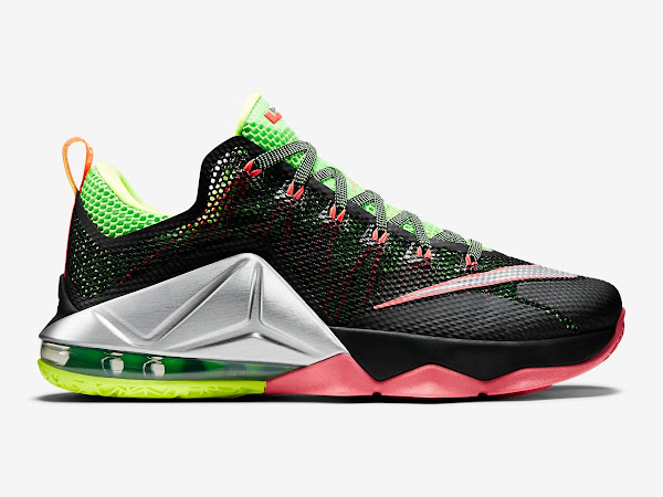 first rate 44e1b dfe99 LeBron 12 Low – Black / Silver / Volt / Hot Lava – Official ...