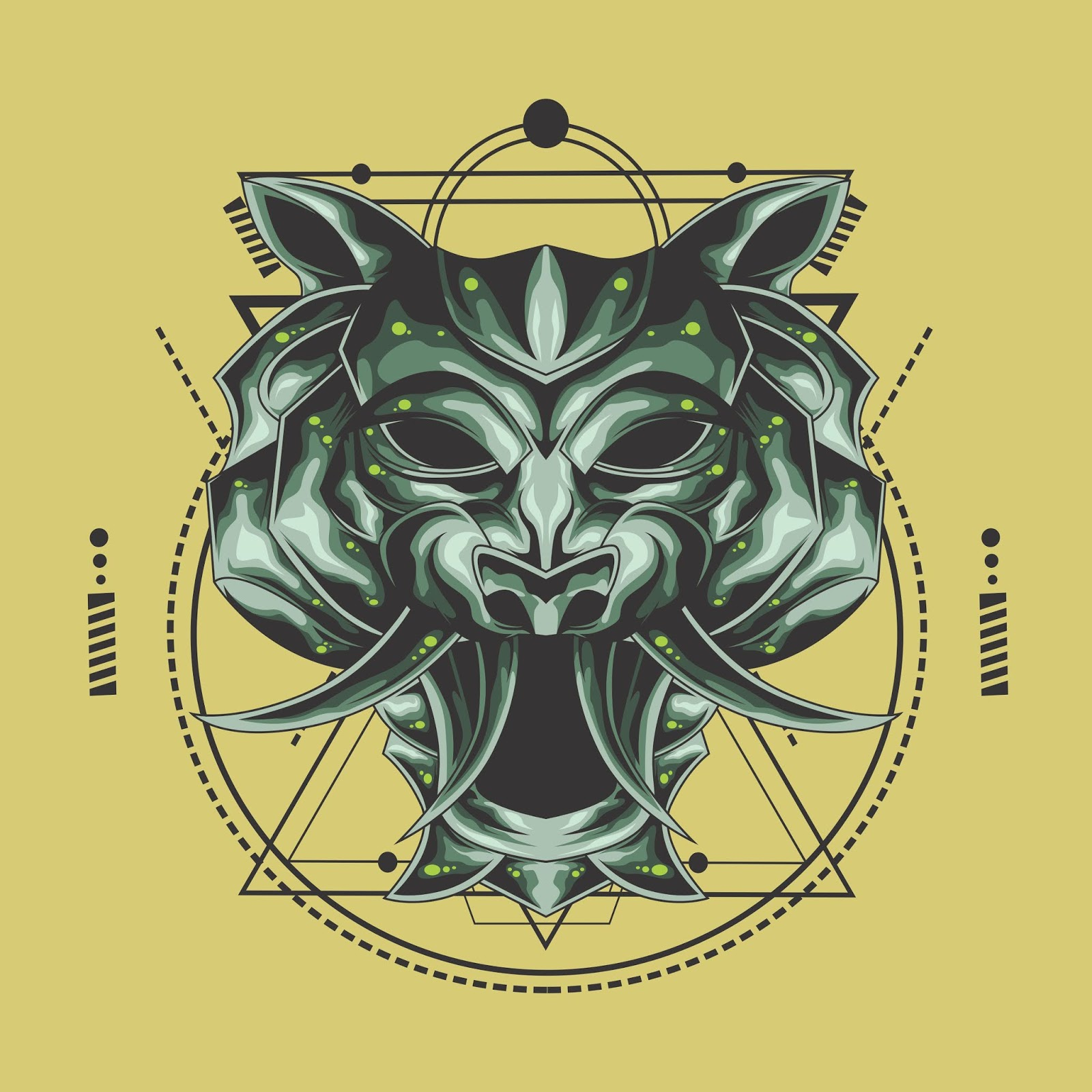 Tiger Metal Head Sacred Geometry	 Free Download Vector CDR, AI, EPS and PNG Formats