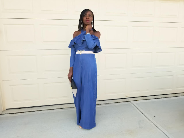 Denim Off Shoulder Ruffle Jumpsuit