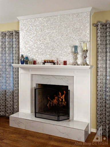 wood and marble fireplace mantel - alanharpdesign