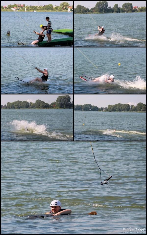 Maciej próbuje swoich sił na nartach wodnych