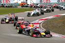 Sebastian Vettel (Red Bull), Fernando Alonso (Ferrari) & Daniel Ricciardo (Red Bull)
