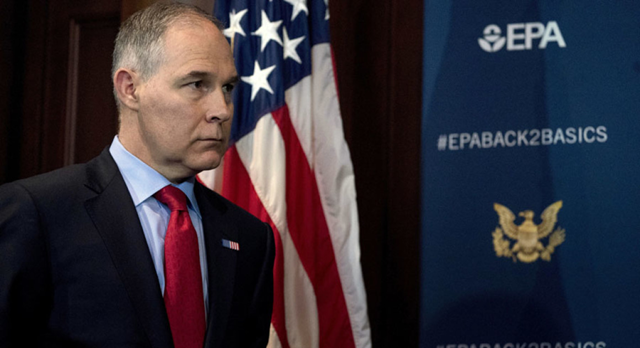 EPA Administrator Scott Pruitt. Discussions about how to address the HHS study on widespread contamination of water systems by the chemicals PFOA and PFOS involved Pruitt's chief of staff and other top aides, including a chemical industry official who now oversees EPA's chemical safety office. Photo: AP Photo