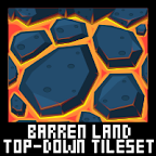top down volcano game tileset