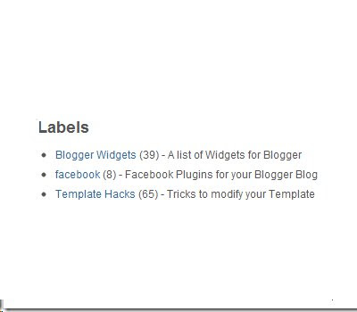 Adding Descriptions To Blogger's Label Gadget