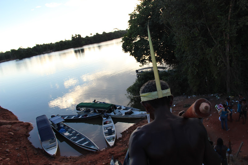 On June 21st, dozens of indigenous warriors from nearby communities peacefully took over the coffer dam (earthen road buit across a river, diverting the water's flow) crossing Pimental Island. The number has grown to several hundred people, representing nine indigenous peoples from 21 communities along the Middle Xingu river. (Photo: Rafael Salazar)