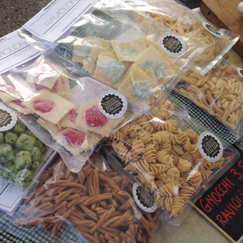 Twickenham Farmers' Market - fresh pasta and every flavour of pesto you could imagine from the Seriously Italian Company.