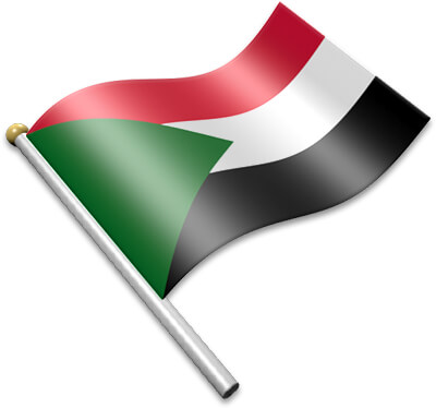 The Sudanese flag on a flagpole clipart image