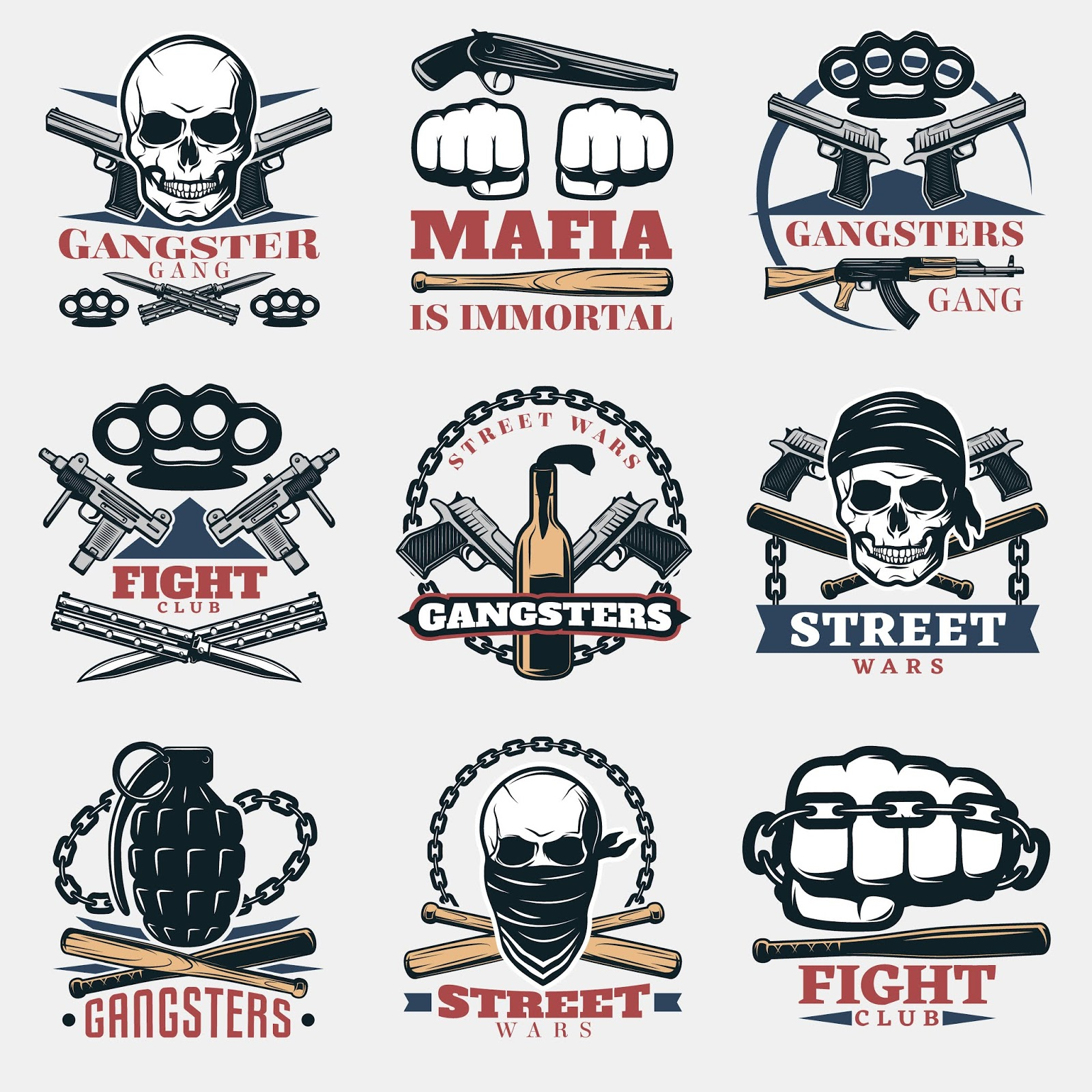 Mafia Fight Emblems Color	 Free Download Vector CDR, AI, EPS and PNG Formats
