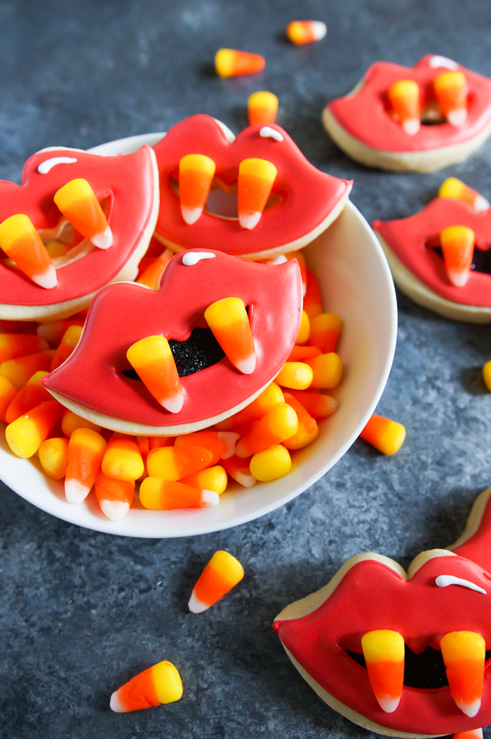 candy corn fang cookies