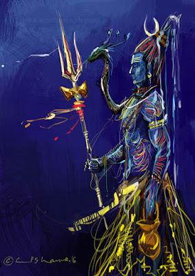 shiva, hindu, god, illustration, cp sharma, art, artist