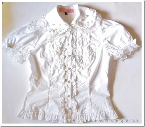 Bodyline blouse l364 after removing the ruffles from the sleeves.  It looks cuter this way.