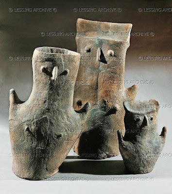 Three anthropomorphous vases. Terracotta From a neolithic grave in Center, Hungary. Late Stone Age (4th mill. BCE) Height 15-35 cm