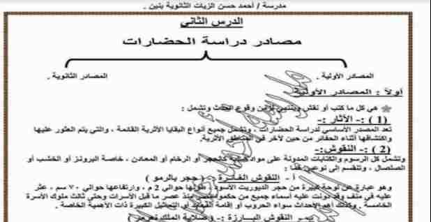 فى 19 ورقة فقط مراجعة تاريخ للصف الاول الثانوى مستر محمد ماجد
