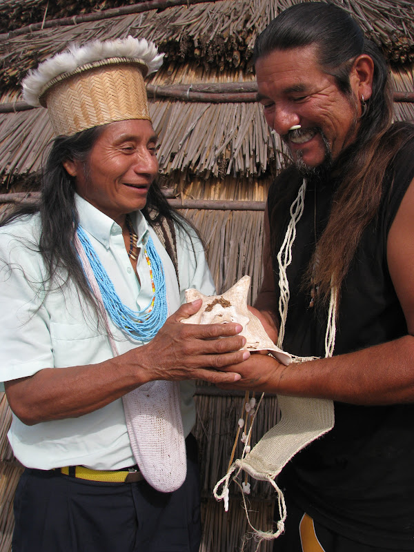The conch shell is sacred for both the Chumash of southern California and the U'wa of Colombia. After receiving an U'wa pouch, Mati returns the gesture with a conch shell for Berito.