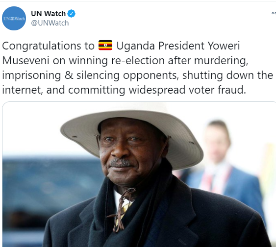UN Watch's choice of words in announcing the re-election of Museveni as Uganda's President elicits reactions from Ugandans