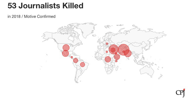 Map showing the number of journalists killed worldwide in 2018. Data: Committee to Protect Journalists. Graphic: CPJ