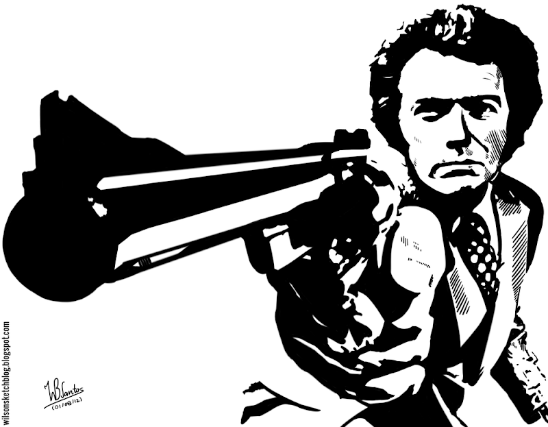 Ink drawing of Harry Callahan (Dirty Harry), using Krita 2.4.