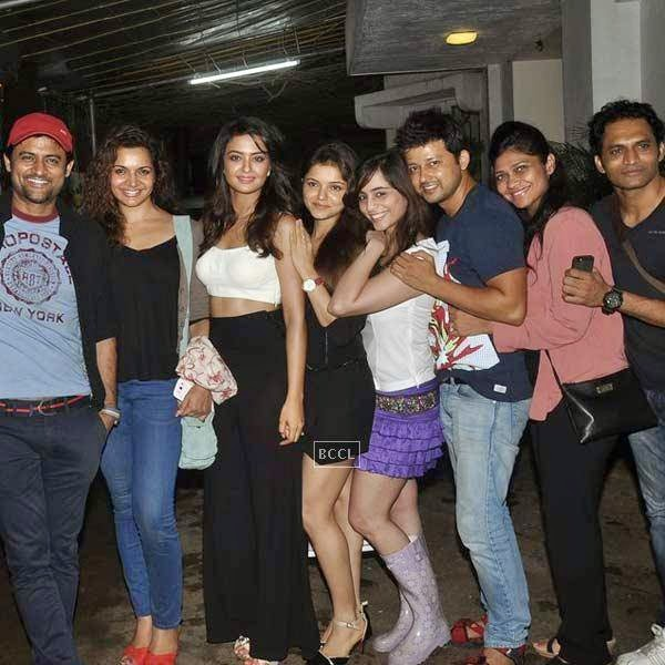 TV stars pose for a photo during the premiere of Bollywood movie Hate Story 2, held at Super Sunny Sound in Mumbai, on July 17, 2014.(Pic: Viral Bhayani)