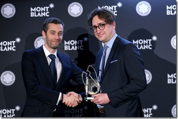 MUNICH, GERMANY - APRIL 26: Vincent Montalescot, Executive Vice President Marketing Montblanc International, hands over the Montblanc de la Culture Arts Patronage Award to Juergen Wesseler, Founder and Director of Bremerhavener 'Kabinett für aktuelle Kunst',  during the Montblanc de la Culture Arts  Patronage Award at Residenz on April 26, 2018 in Munich, Germany. (Photo by Gisela Schober/Getty Images for Montblanc)