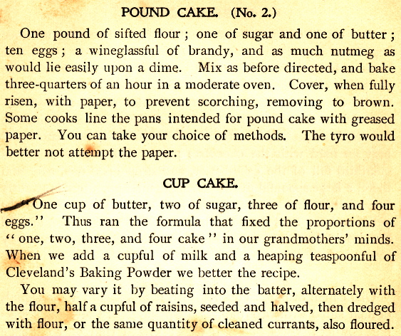 Pound Cake Recipes 1896