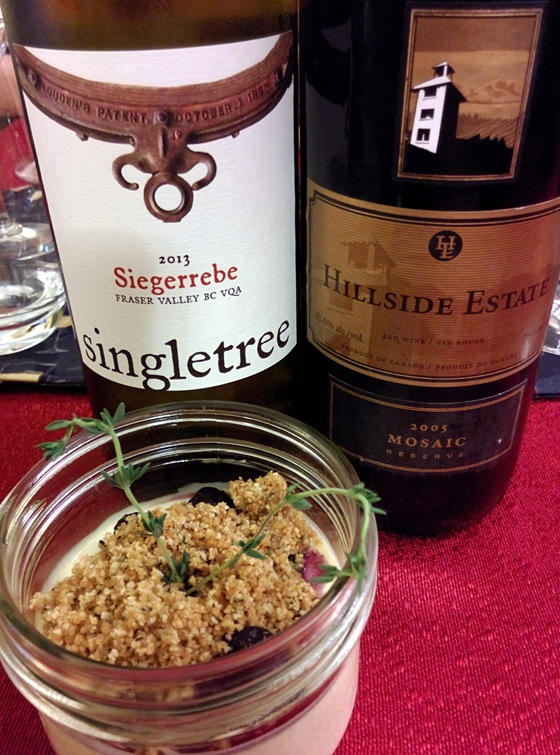 Singletree 2013 Siegerrebe & Hillside 2005 Mosaic with Blue Cheese Cheesecake