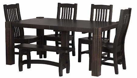 Montreal Bench, Phoenix Table and Chairs in Blackwash Oak