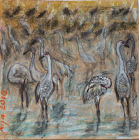 Chalk drawing flock of cranes