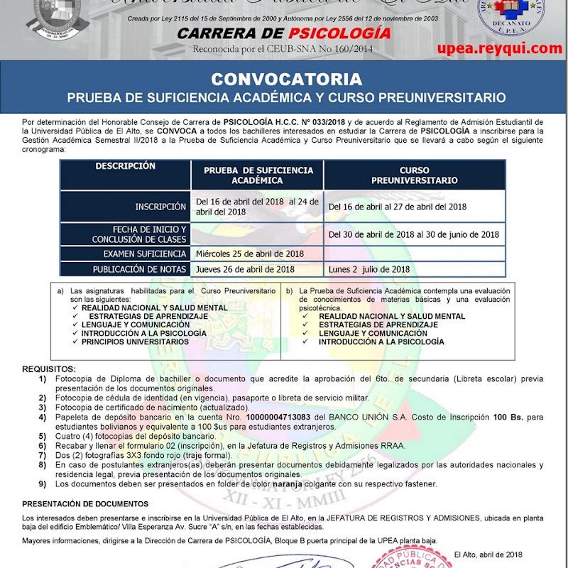Psicología UPEA II/2018: Convocatoria para Prueba de Suficiencia Académica y Cursos Preuniversitario
