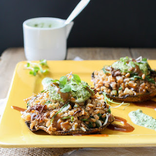 Italian Farro Stuffed Portobello Mushrooms with Pesto and Balsamic Sauce