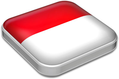 Flag of Indonesia with metallic square frame