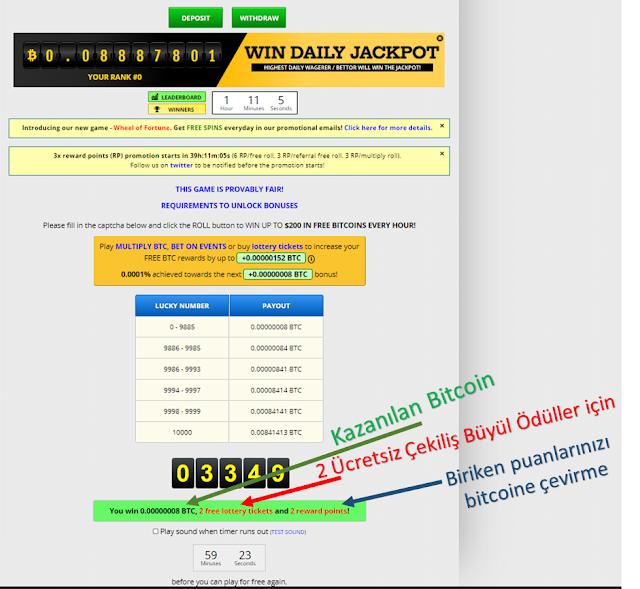Ne kadar Bitcoin Kazandığınızı  aldığınız ödülleri inceleyin