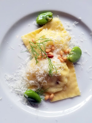 Meadowlark PDX Apericena: A Springtime Sicilian Cocktail Party, ravioli with ricotta, caramelized fennel, and fava beans
