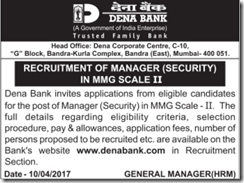 Dena Bank Manager Security Jobs 2017 www.indgovtjobs.in