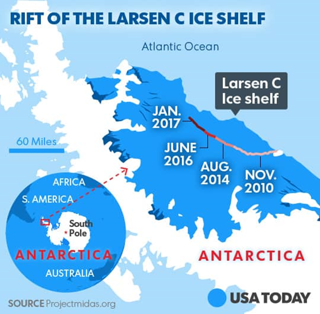 Progression of the Larsen C IceShelf rift, from November 2010 to January 2017. Graphic: USA TODAY / ProjectMidas.org