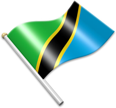 The Tanzanian flag on a flagpole clipart image