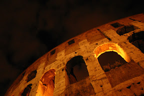 The arches of the Colosseum at night