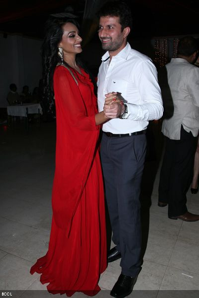 Resshmi Ghosh and Siddharth Vasudev dance during their engagement ceremony.