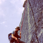 1968.09 Norway, Chris Bristow, Skagastol Ridge, abseiling over Halls Hammer.jpg