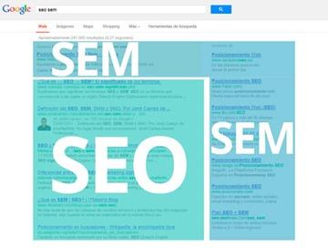 Resultados SEO y SEM en una búsqueda en Google.