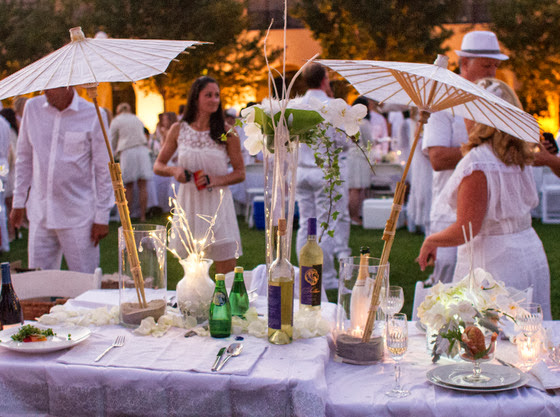 photo of a table decaorated with parasols