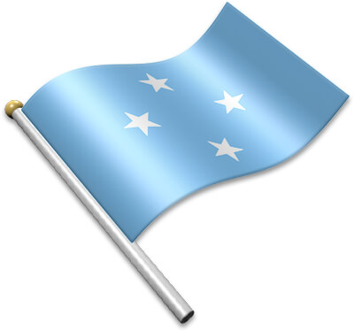 The Micronesian flag on a flagpole clipart image