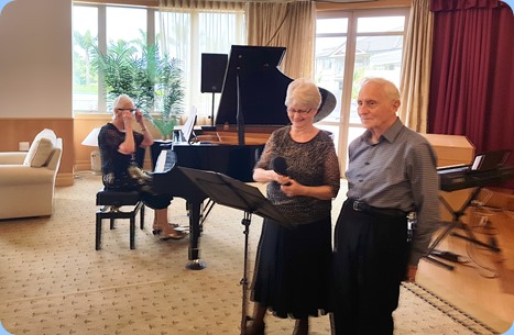 Julia and Bob Bissett singing for us with Dorothy Waddel accompanying on grand pinao. Dorothy also played a lovely solo piece for us.