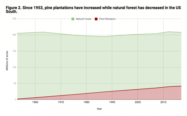 Natural forest and pine plantation area in the U.S. South since 1953. Graphic: Dogwood Alliance