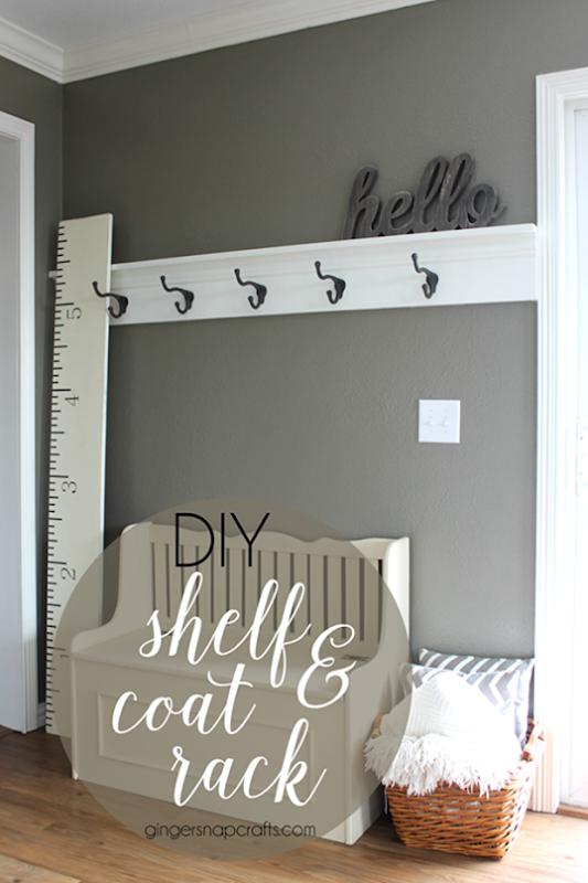 DIY Shelf & Coat Rack at GingerSnapCrafts.com #DIY   #shelf_thumb