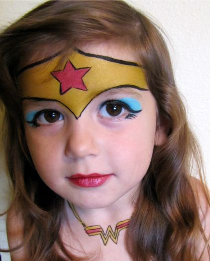 Download Wallpaper Wonder Woman make-up girl kids
