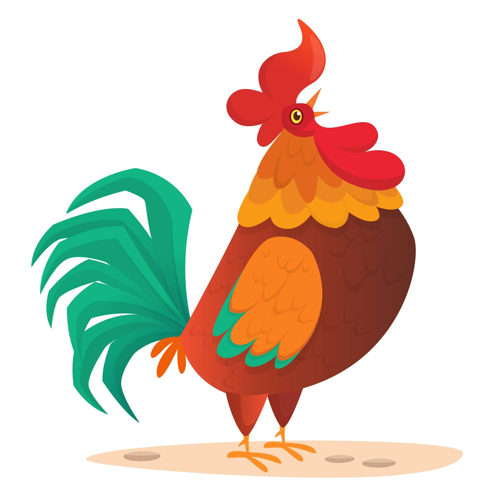Cartoon Funny Rooster Illustration Free Download Vector CDR, AI, EPS and PNG Formats