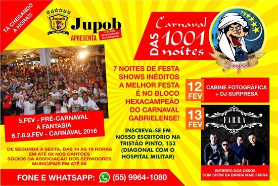 Flyer Jupob Carnaval 1001 noites - com atrações
