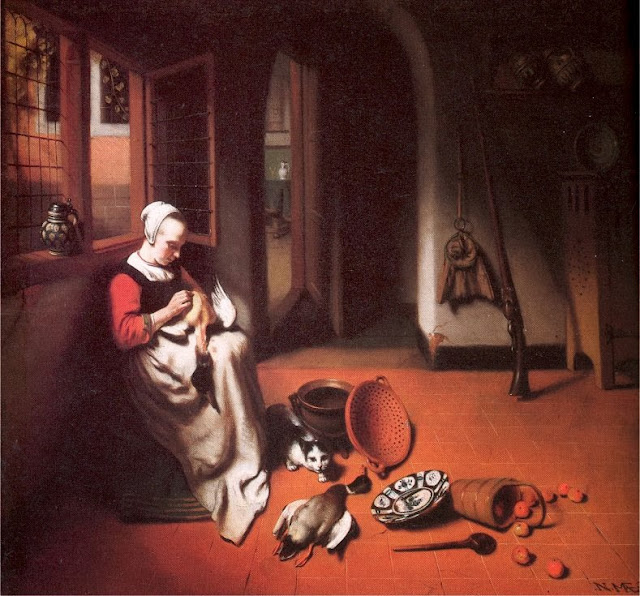 Nicolaes Maes - Woman Plucking a Duck